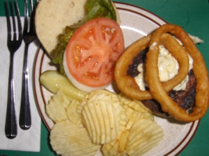 Gene White burger at Bubba's Pot Belly Stove restaurant