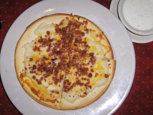 Mashed Potato Pizza with Cheddar and Bacon
