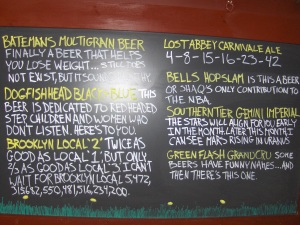 Special Beers List at Isaac's Newton's