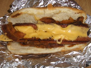 Bacon-Cheese Dog at Five Guys