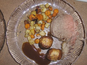 Standing Rib Roast, Roasted Potatoes and Vegtables