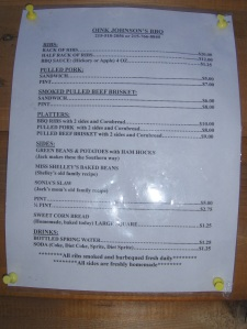 Oink Johnson's BBQ Menu