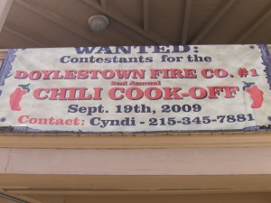 Doylestown Chili Cook Off sign