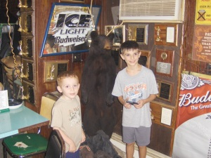 Joey and Nicky with the Stuffed Bear at the Tombstone Inn