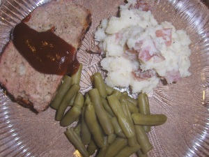 Homemade BBQ Meatloaf, Mashed Potatoes and Green Beans