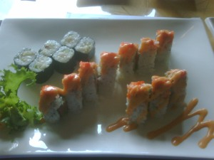 Yellowtail and Volcano Rolls at Midori Sushi
