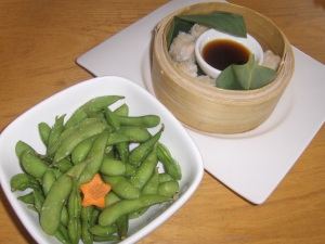Edamame and Shumai Appetizers at Ooka in Doylestown, PA