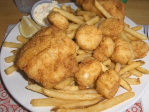 Haddock & Scallop Combo at Comeau's Seafood Restaurant in Pennfield, NB, Canada