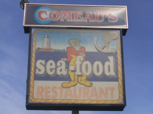 Comeau's Seafood Restaurant sign