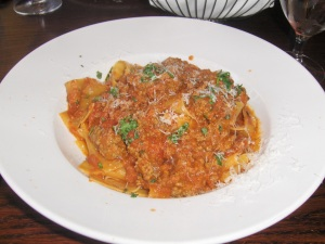 Pappardelle  with Bolognese at Catherine Lombardi's in New Brunswick